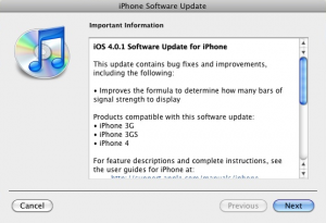 Patch: iPhone IOS 4.0.1 Released